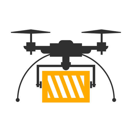 Delivery drone, fast shopping service - vector Illustration