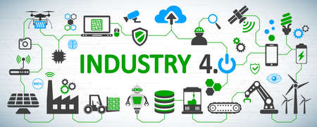 Industry 4.0 infographic factory of the future - for stock vector Ilustracja