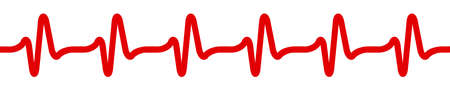 Heart pulse icon, cardiogram sign, heartbeat, one line - stock vector