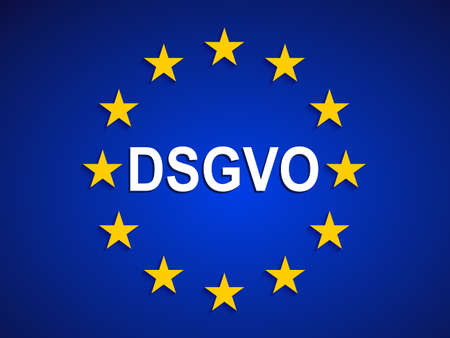 General Data Protection Regulation, EU flag. Datenschutz Grundverordnung (DSGVO) - stock vector
