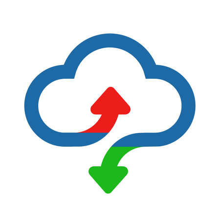 Download and upload vector icon. Flat sign for mobile concept and web design. Cloud with arrow up and down simple solid icon - vector for stock