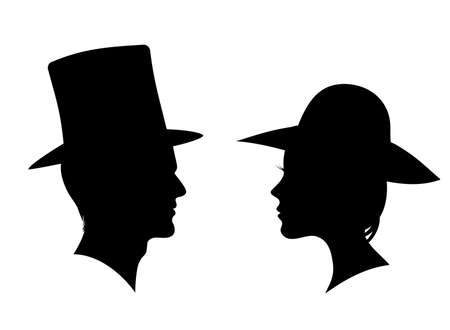 Man and woman silhouette. Face to face - vector for stock