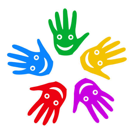 A group of smiling hands - vector Ilustracja
