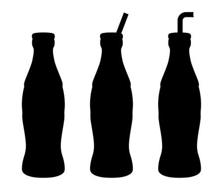 Set bottle of soda water with tube - vector