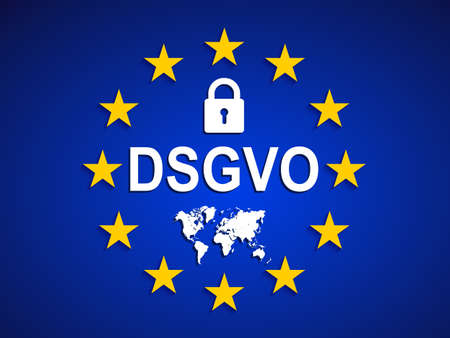 General Data Protection Regulation, EU flag. Datenschutz Grundverordnung (DSGVO) - vector