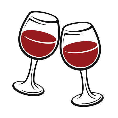 Two wineglass icon, logo, sign, emblem - vector