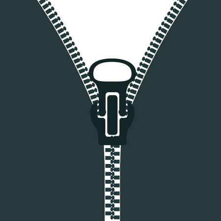 Zipper sign silhouette - stock vector