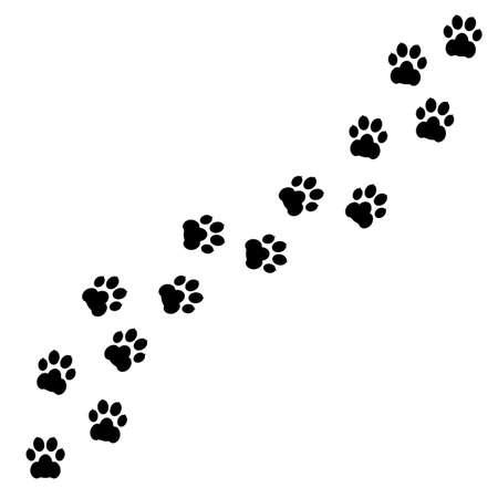 Black footprints of dogs. Paw print, animal tracks - stock vector Иллюстрация