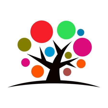 Tree with hands logo, beautiful logo tree - stock vector