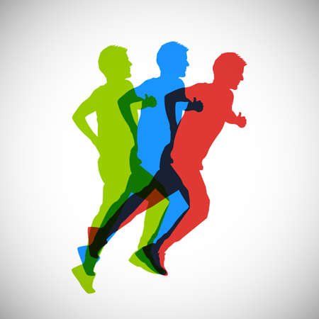 The athlete starts to run, runner icon sign, sportsman run - stock vector
