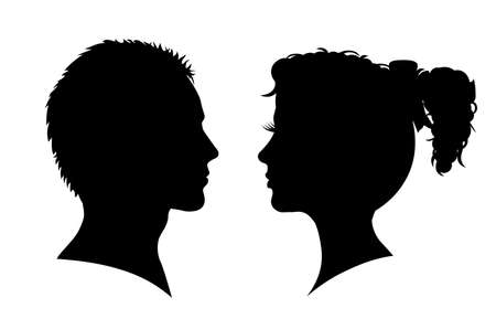 Man and woman silhouette. Face to face - for stock vector