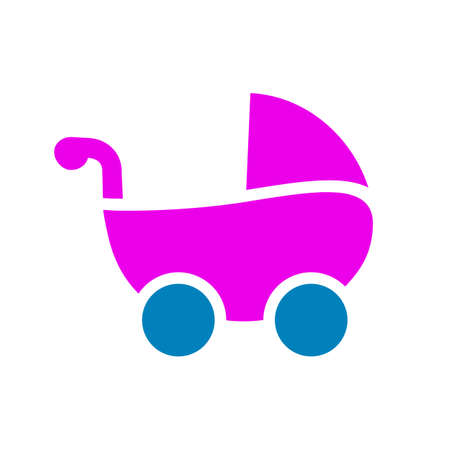 Colored baby carriage, funny baby stroller - vector