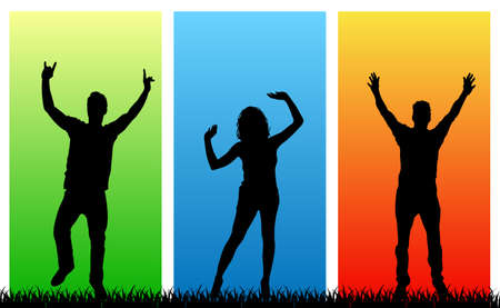 Happy young people on a multicolored background - stock vector Ilustração