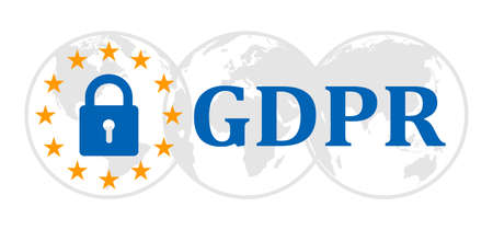 General Data Protection Regulation sign on globes. Datenschutz Grundverordnung (DSGVO) - vector