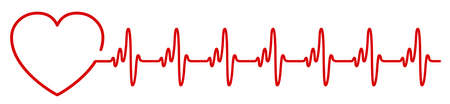 Heart pulse icon, cardiogram sign, heartbeat, one line - for stock