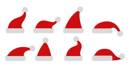 Set red Christmas hats - stock vector Vektoros illusztráció
