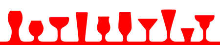 Bar glasses icons set. Wine glass, cups, mugs - vector