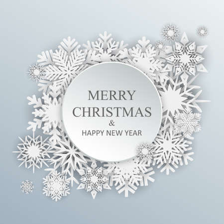 White Christmas greeting card - stock vector Иллюстрация