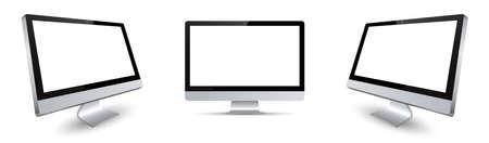 Three black monitor with white display in turn - vector Ilustración de vector
