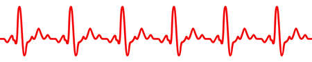 Heart pulse icon, cardiogram sign, heartbeat, one line - vector for stock Иллюстрация