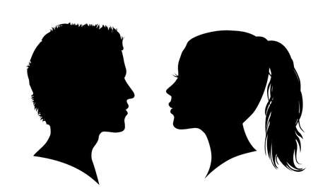 Man and woman face silhouette. Face to face - stock vector Иллюстрация