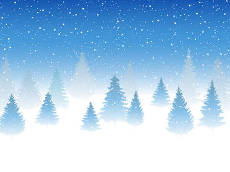 Snowfall and little snow with snow drifts and tree. Heavy snowfall, snowflakes in different shapes and forms. Sky clouds and snow winter. Frosty close-up wintry snowflakes Ilustração Vetorial