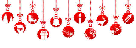 Banners from different red Christmas balls. Christmas symbol icons hanging, Merry Christmas, Happy New Year - stock vector