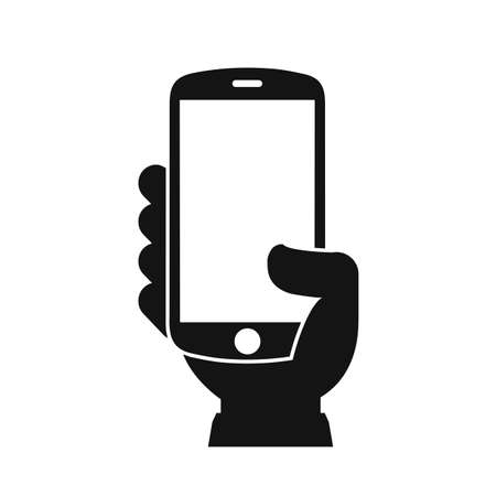 Human hand holding smartphone. Phone holding flat icon - vector