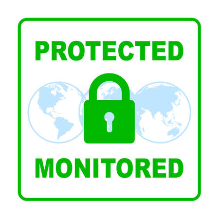 Protected and monitored sign on blue globes - vector