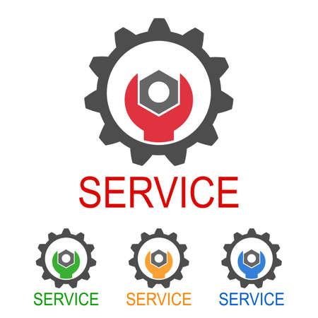 Creative simple icon service. Key in gear. Stock vector 向量圖像