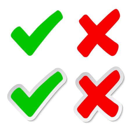 Set check mark and cross - stock vector 向量圖像