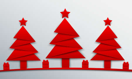 Origami Christmas tree with red star and gifts - vector