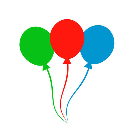 Group colored helium fly balloons - vector
