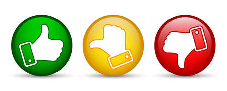 Three button with white valuation thumbs - vector