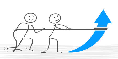 Growth concept: two man pull up an arrow - vector
