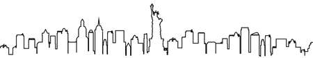 New York city silhouette one line - stock vector