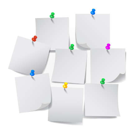 Set white sticky papers - vector Иллюстрация