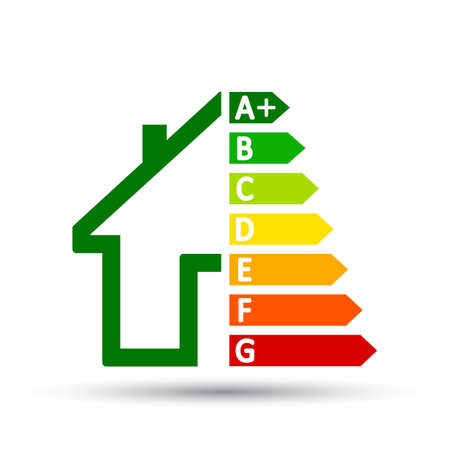 Energy efficient house concept with classification graph sign - vector