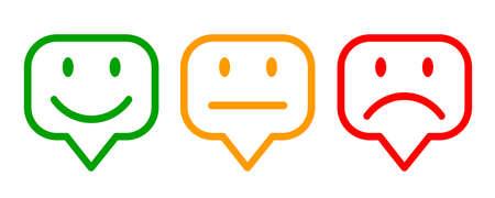 Three colored emoticons, cartoon emoticons - vector