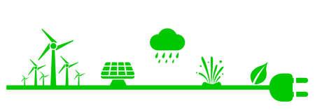 Alternative energy sources. Renewable energy, nature power symbols - stock vector 向量圖像