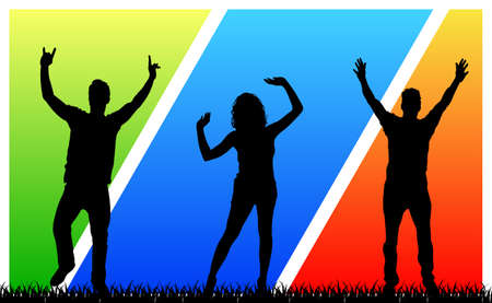 Happy young people on a multicolored background - vector Иллюстрация