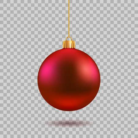 Red Christmas ball. New year toy decoration - stock vector Vektoros illusztráció