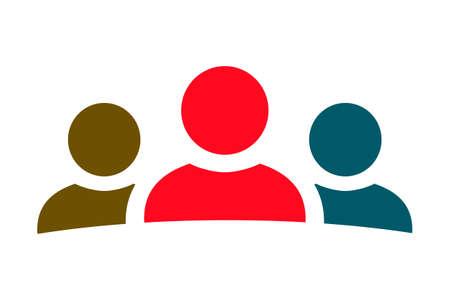 Teamwork icon, staff, partnership, three person sign - vector