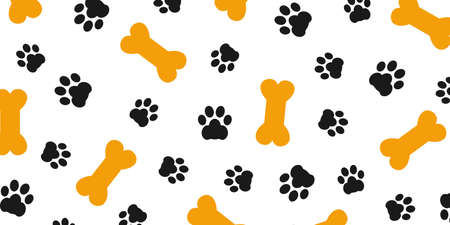 Black trace of dog paw pattern with paw footprints and bones, dog bone background isolated illustration cartoon repeat wallpaper - stock vector 向量圖像