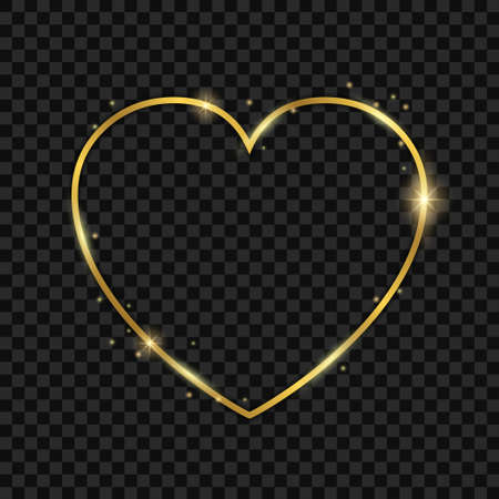 Golden light heart frame - stock vector