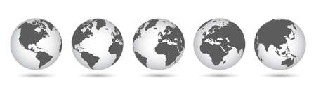 Set 3D Globes with World Maps - vector