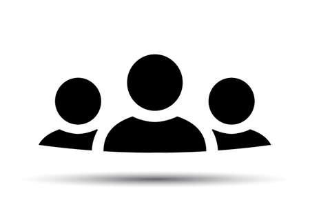 Teamwork icon, staff, partnership, three person sign - stock vector