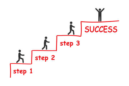 Businessman is climbing career ladder. Concept of business development. Step by step. Human hand drawing stairs close up. Ladder of success - stock vector 向量圖像
