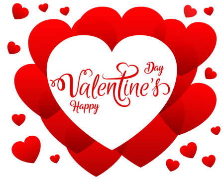 Red hearts, beautiful concept of Valentines day - vector
