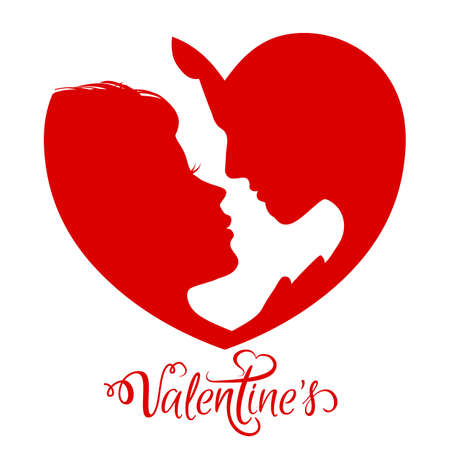 Man and woman silhouette face to face in red heart - stock vector